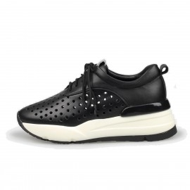 Jady Rose Punch-Hole Front Leather Black Sneaker (16DR1-0012)
