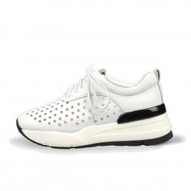 Jady Rose Punch-Hole Front Leather White Sneaker (16DR1-0012)
