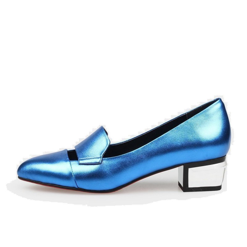 Jady Rose Thick Strap Crystal Block Leather Blue Loafer (16DR1-0024)