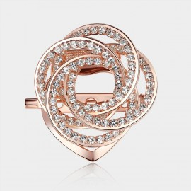 Caromay Crystal Camellia Rose Gold Brooch (T0111)