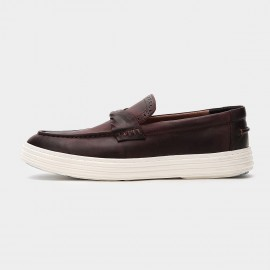 Herilios Hollow Out Tassel Twist Leather Wine Loafers (H6105D08)