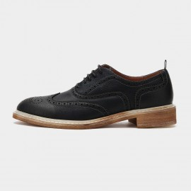 Herilios Wood Grain Sole Oxford Hollow Out Leather Black Lace Up (H6105D33)