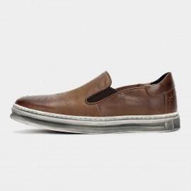 Herilios Calf Leather Elastic Vintage Hollow Out Brown Loafers (H6105D39)