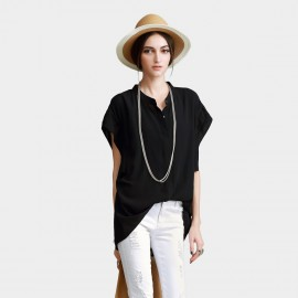 Vanilla Chocolate See Through Wide Sleeve Hip Length Black Shirt (V622116737)
