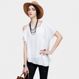Vanilla Chocolate Asymmetrical Shoulder Loose Fit Off White Top (V622156946)