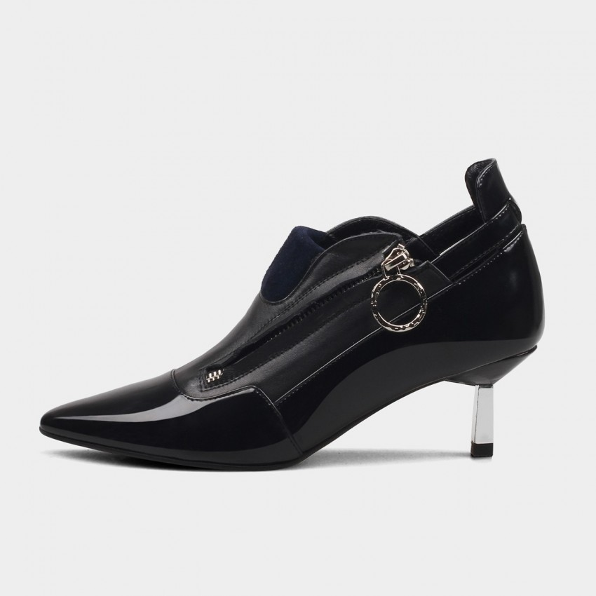 Jady Rose Ring Puller Side Leather Black Pumps (16DR10091)