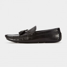 Herilios Metallic Buckle Grasp Leather Black Loafers (H6105D56)