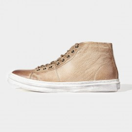 Herilios Worn Finishing Leather Apricot Sneakers (H6305G73)