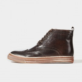 Herilios Side Zipper Ankle Leather Coffee Boots (H6305G74)
