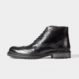 Herilios Hidden Crocodile Leather Black Boots (H6305G78)