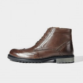 Herilios Hidden Crocodile Leather Coffee Boots (H6305G78)