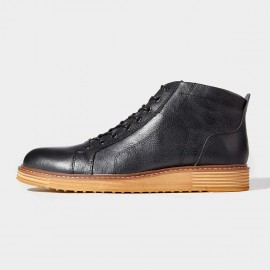 Herilios Smart Contrast Leather Black Boots (H6305G82)