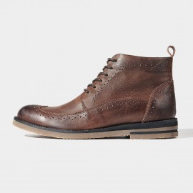 Herilios Decorative Pinhole Leather Brown Boots (H6305G88)