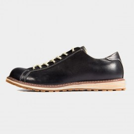 Herilios Gripped Round Toe Leather Black Lace-Up (H6305D67)