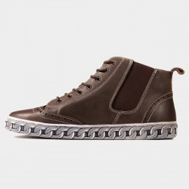 Herilios Casual Chain Leather Brown Sneakers (H6305G98)