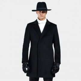 Beverry Classic Concealed Button Black Coat (16AFQ1725)