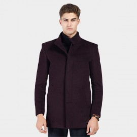 Beverry Twin Button Banded Collar Wine Coat (16AFQ8603)