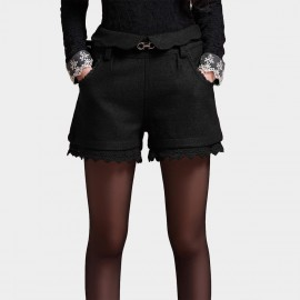 SSXR Laced Suede High Waist Black Mini Shorts (3016)