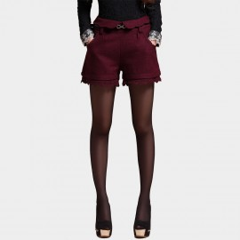 SSXR Laced Suede High Waist Wine Mini Shorts (3016)