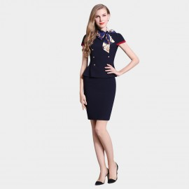 SSXR Buttons And Contrasting Lines Ruffled Navy Set (7045)