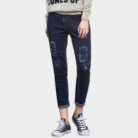 Leiji Embroidery Graffiti Rolled Navy Jeans (5384)