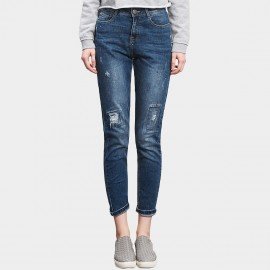 Leiji Square Patches Denim Washed Torn Rolled Blue Jeans (5388)