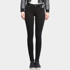 Leiji Tinted Embroidery Badges Skinny Black Jeans (5404)