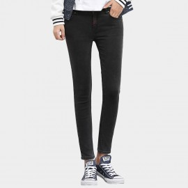Leiji Contrasting Stitches Tinted Pencil Black Jeans (5442)