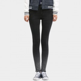 Leiji Tinted Gradient Logo Embroidery Skinny Black Jeans (5446)