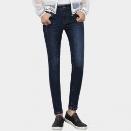 Leiji Scratched Tinted Indigo Pencil Skinny Blue Jeans (5448)