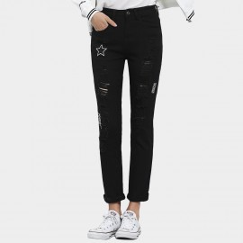 Leiji Starry Tinted Embroidery Torn Rolled Black Jeans (5486)