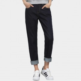 Leiji Slogan Embroidery Tinted High Waist Regular Fit Rolled Navy Jeans (5502)