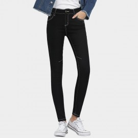 Leiji Contrasting Seams Scratched Tinted Skinny Black Jeans (5504)