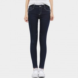 Leiji Contrasting Seams Scratched Tinted Skinny Navy Jeans (5504)