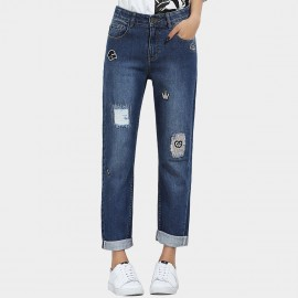 Leiji Monster Embroidery Scratched Denim Rolled Blue Jeans (5538)