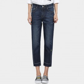 Leiji Straight Leg Cropped Tubes Embroidery Lines Blue Jeans (5604)
