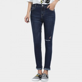 Leiji Cherry Embroidery Slim Fit Rolled Blue Jeans (5620)