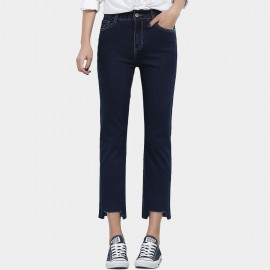 Leiji Contrasting Seams Straight Leg Cropped Navy Jeans (5628)