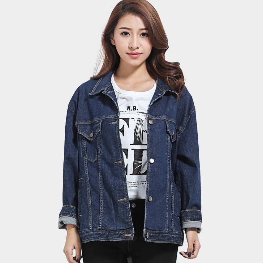 Leiji Tinted Oversized Rolled Sleeves Denim Blue Jacket (5630)