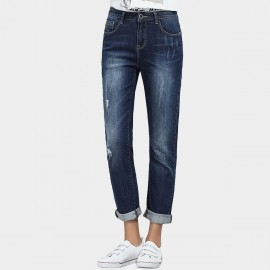 Leiji Stone Scratches Washed Denim Rolled Blue Jeans (5638)