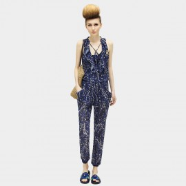 Cocobella Tied Knots Patterned Chiffon Navy Jumpsuits (PT316)