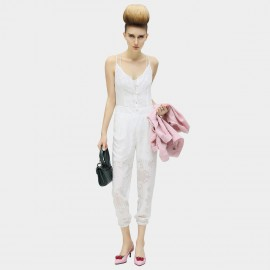 Cocobella Spalled Pattern See Through Spaghetti Top White Jumpsuits (PT294)