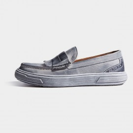 Herilios Grey Leather Wood Grain Soles Loafers Without Laces (H7105D08)