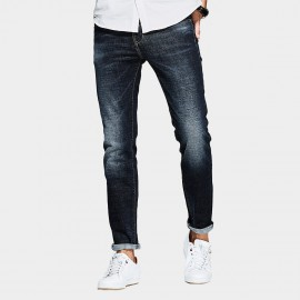 Kuegou Natural Washed Denim Rolled Blue Jeans (LK-1096)