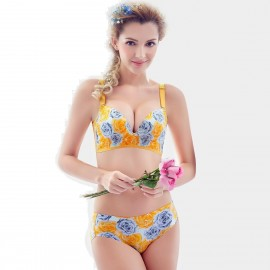 Olanfen Convertible Full Support Moulded Cup Plunge Bra Underwear Yellow Set (T6014)