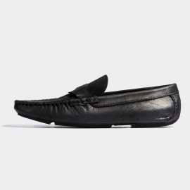 Herilios Pointed Toe Penny Black Loafers (H7105D01)