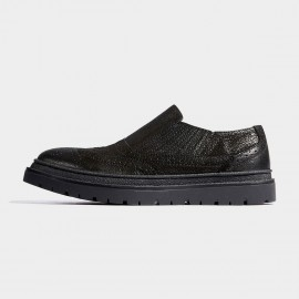 Herilios Elastic Quarter Slip On Full Brogues Black Loafers (H7105D72)