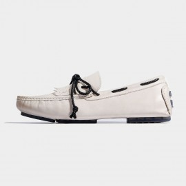 Herilios Contrasting Lace And Sole White Loafers (H7105D74)