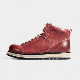 Herilios Open Lacing Platform Sole Ankle Red Boots (H7105G03)
