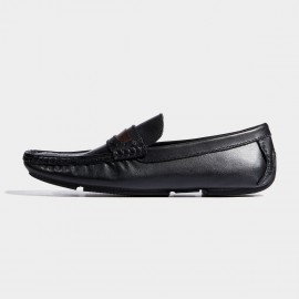 Herilios Walnut Wood Contrasting Brogues Penny Black Loafers (H7105D81)